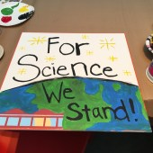 A March for Science sign created by a California Academy of Sciences staffer.