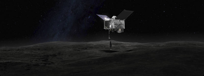 Artist illustration of the OSIRIS-REx spacecraft performing its dust-sample collection maneuver prior to its return to Earth.
