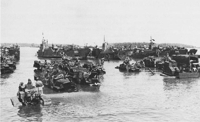 American transports unloading supplies at Morotai, Sep 1944, photo 1 of 2