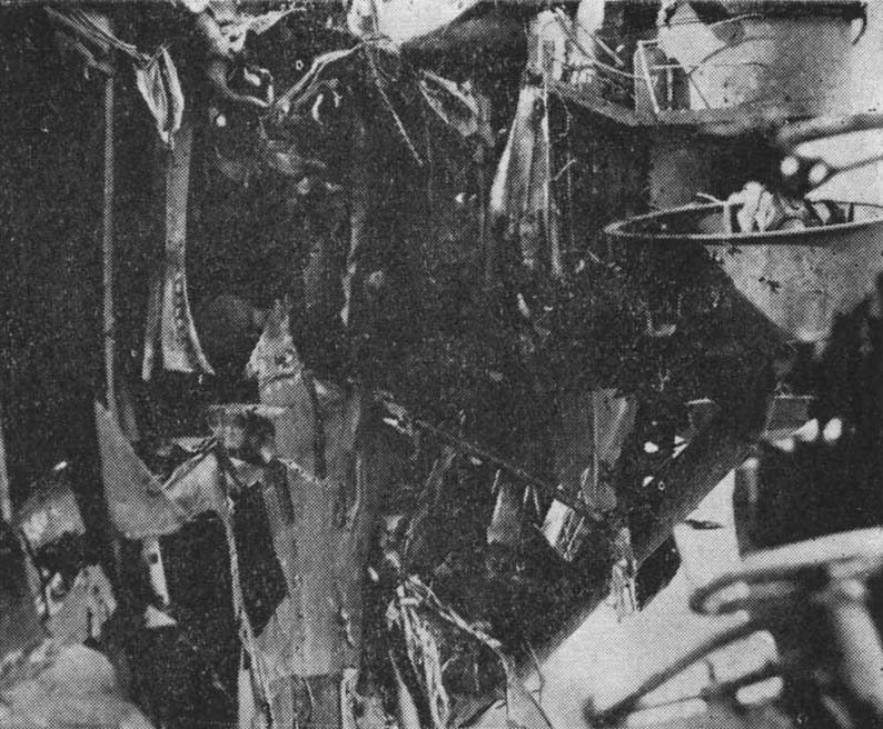 Close-up view of damaged received from the third bomb hit on Shokaku during the Battle of the Coral Sea, Kure, Japan, between 17 May and 27 Jun 1942