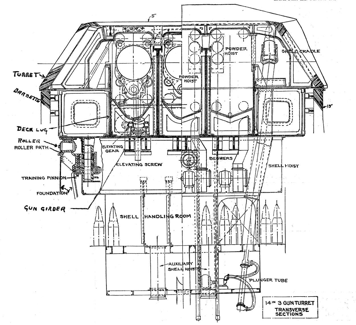 Photo Transverse Diagram Of A Main Battery 14 Inch Gun