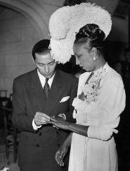 06 Apr 1947, France --- Josephine Baker Getting Married --- Image by © Bettmann/CORBIS