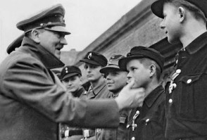 Hitler in Hitlerjugend (Hitler Youth) award ceremony in Berlin 1945a