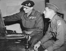 THE ARDENNES OFFENSIVE 16 DECEMBER 1944 - 28 JANUARY 1945 (EA 49926) Personalities: Field Marshal Sir Bernard Montgomery, Commander of 21st Army Group, checks a situation map with Major General Matthew B Ridgway, Commander of 18th US Airborne Division, during the Battle of the Bulge. Montgomery's appointment to command the Allied armies - which were largely American - on the north flank of the German salient, was controversial. Copyright: © IWM. Original Source: https://www.iwm.org.uk/collections/item/object/205196590