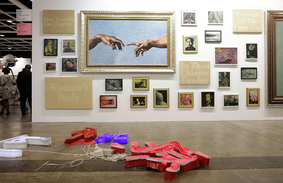 'Encounters' by Wang Yuyang and 'He Tao Yuan' by He An, represented by Tang Contempory Art gallery,