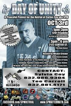Promotional materials for a protest in support of Carlos Coy -- also known as South Park Mexican -- made the round this week.