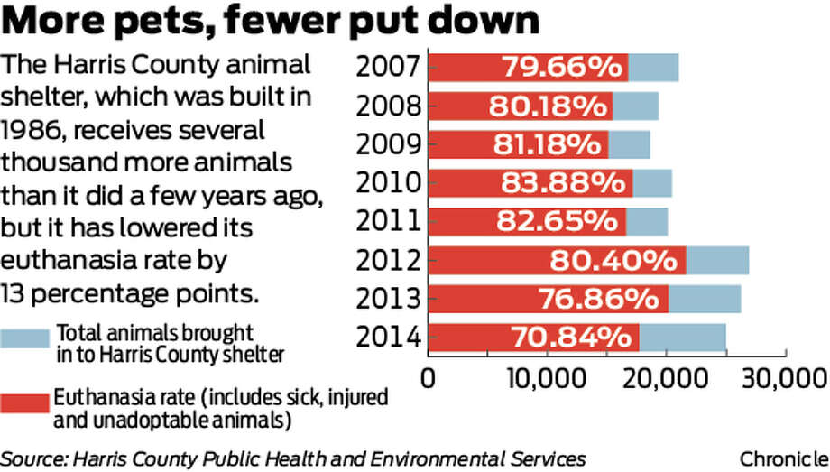 More pets, fewer put down: The Harris County animal shelter, which was built in 1986, receives several thousand more animals than it did a few years ago, but it has lowered its euthanasia rate by 10 percentage points.