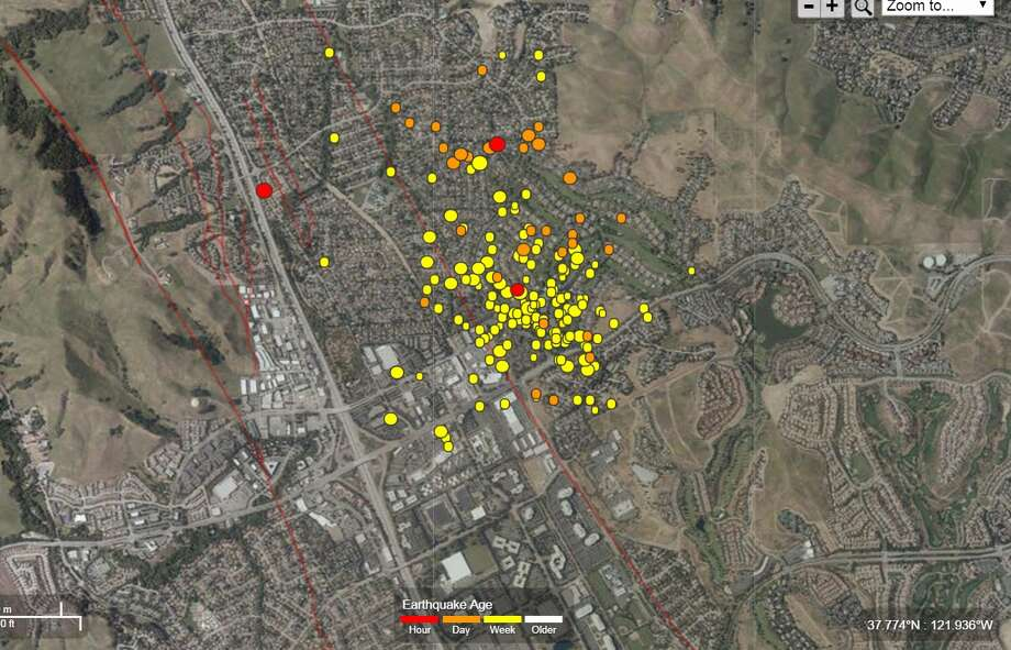 A swarm of earthquakes continued to rock San Ramon in the East Bay. Image from October 19th, 2015 shows the latest quakes in red and earlier quakes in orange and yellow. (USGS)