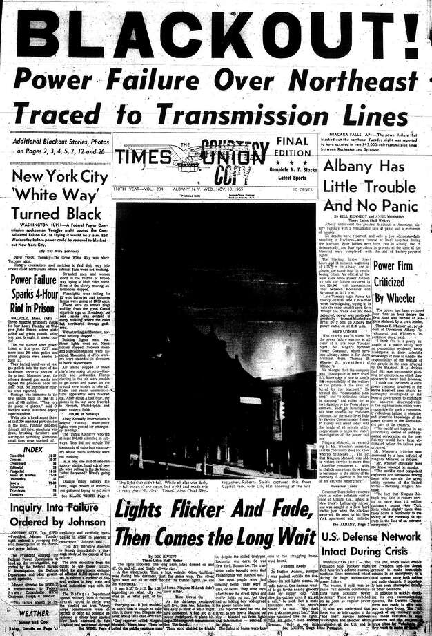 November 10, 1965, Times Union front page on the Nov. 9 1965, blackout.