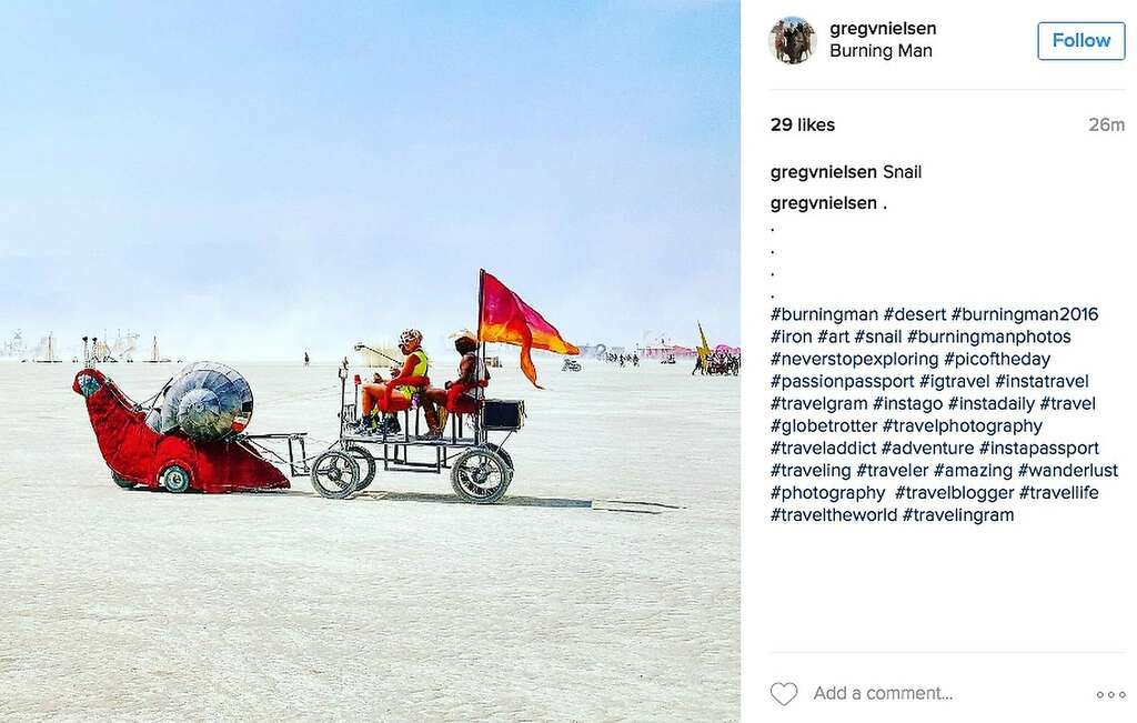 Hey, slow down there, fellas! No speeding on the playa! Photo: Instagram Screenshot