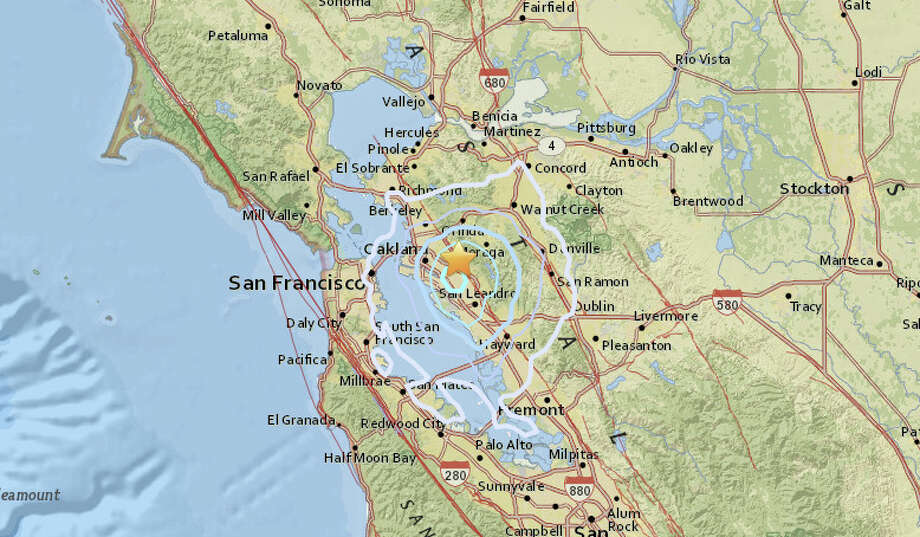 A magnitude 3.5 earthquake struck at 12:50 am this morning one mile east, southeast of Piedmont, California. Photo: USGS