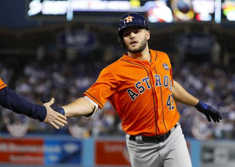 Houston Astros starting pitcher Lance McCullers Jr. (43) celebrates his ground out RBI that allows Brian McCann to score during the second inning of Game 7 of the World Series at Dodger Stadium on Wednesday, Nov. 1, 2017, in Los Angeles. Photo: Karen Warren/Houston Chronicle