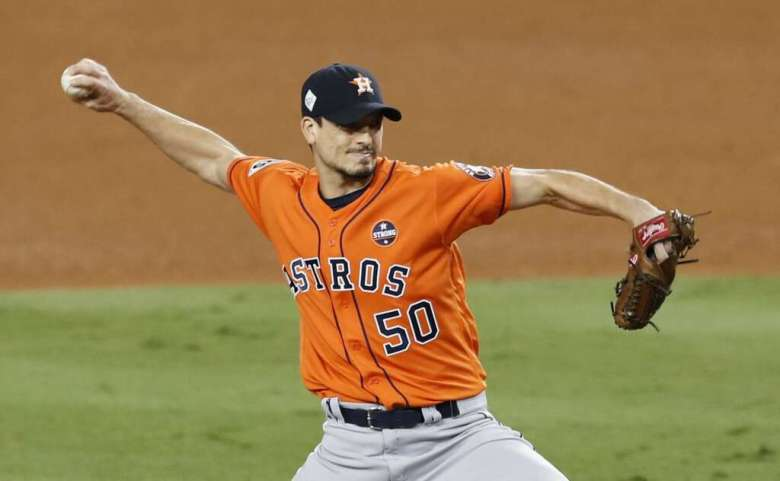 Houston Astros starting pitcher Charlie Morton pitches against the Los Angeles Dodgers during the sixth inning of Game 7 of the World Series at Dodger Stadium on Wednesday, Nov. 1, 2017, in Los Angeles. Photo: Brett Coomer/Houston Chronicle