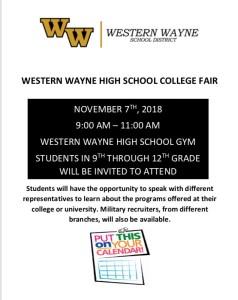 WWHS College Fair – November 7th