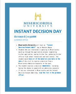 Misericordia & East Stroudsburg – Instant Decision Days
