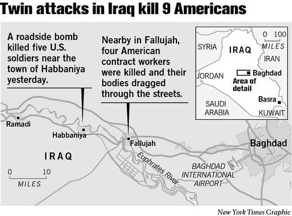 Twin Attacks in Iraq Kill 9 Americans. New York Times Graphic Photo: John Blanchard