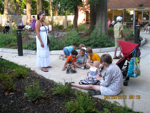 Outdoor reading area at John J. Bach Branch Public Library in Albany, N.Y. (Provided photo)