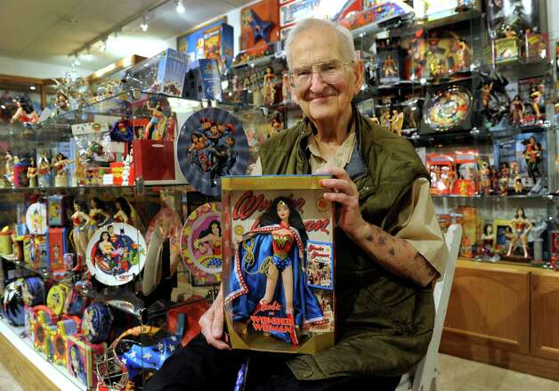 Pete Marston, 84, has created a museum in his home with his extensive collection of Wonder Woman items. His father William Moulton Marston, created Wonder Woman, which was first published by DC Comics. Marston and his collection are photographed in his Bethel, Conn. home Friday, May 2, 2014. Photo: Carol Kaliff / The News-Times