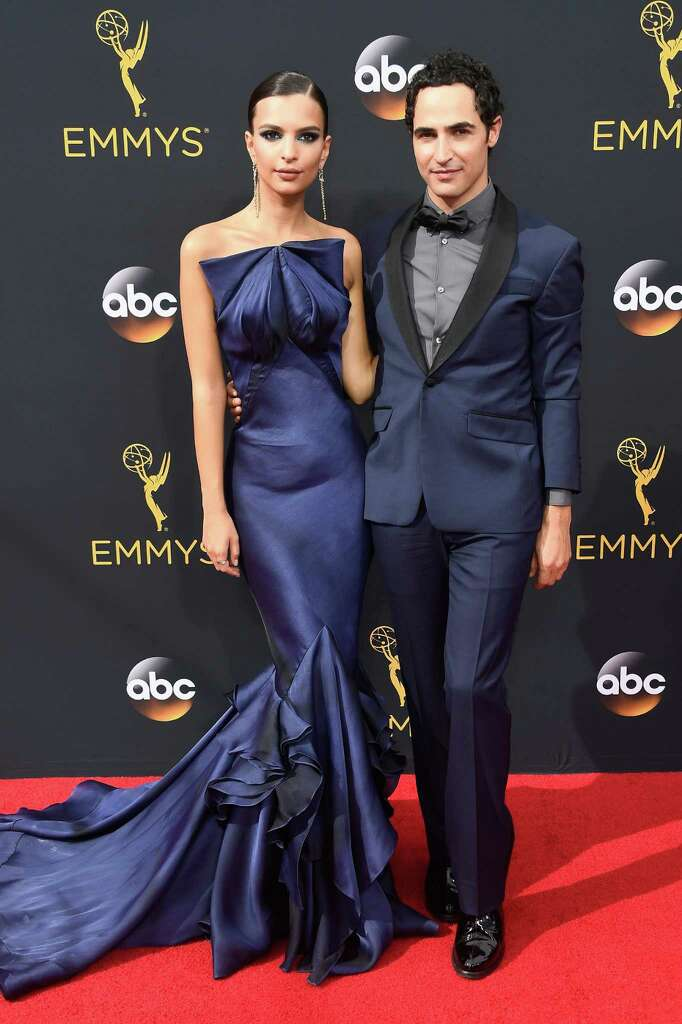 BEST: Emily Ratajkowski with designer Zac Posen. She looked stunning, but together they are like blue-satin salt-and-pepper shakers. Seriously.  Photo: Frazer Harrison, Getty Images / 2016 Getty Images