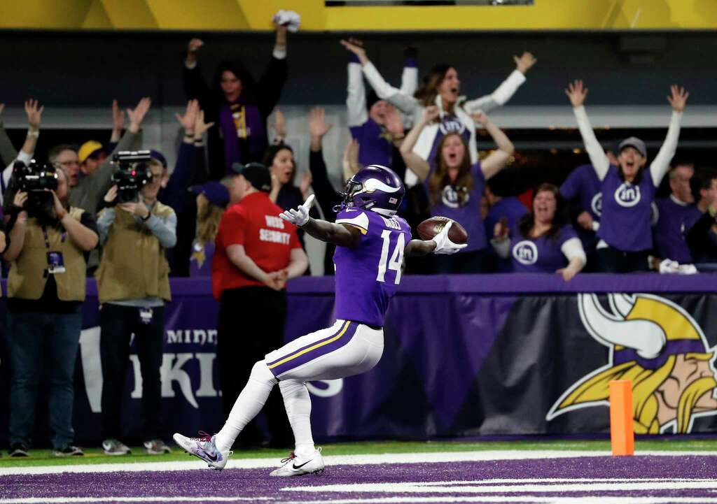 Minnesota Vikings wide receiver Stefon Riggs (14) runs in for a game winning touchdown against the New Orleans Saints during the second half of an NFL divisional football playoff game in Minneapolis, Sunday, Jan. 14, 2018. The Vikings defeated the Saints 29-24. Photo: Jeff Roberson, AP / Copyright 2018 The Associated Press. All rights reserved.