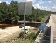 831x640 You can see the tail end of the cement strip boat ramp on the far left, well away from the river at low water., in Berrien Beach at GA 168 on the Alapaha River, by Bret Wagenhorst, for WWALS.net, 14 September 2014
