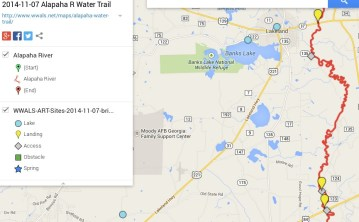 865x537 ARWT Central Legend, in Alapaha River Water Trail draft map, by John S. Quarterman, for WWALS.net, 7 November 2014