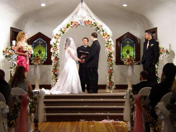 Pink White Yellow Altar/Arch Arrangements Indoor Ceremony