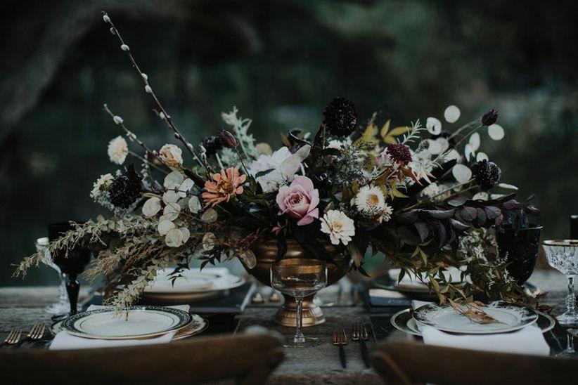 Black And Purple Wedding Centerpieces