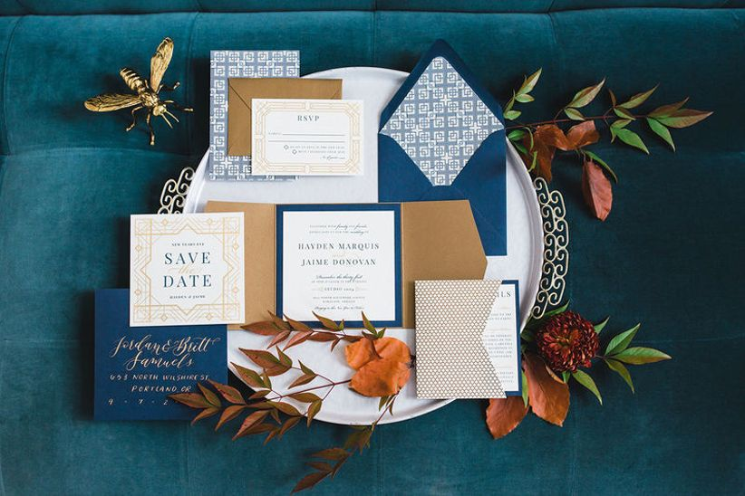 gold and navy blue wedding invitations