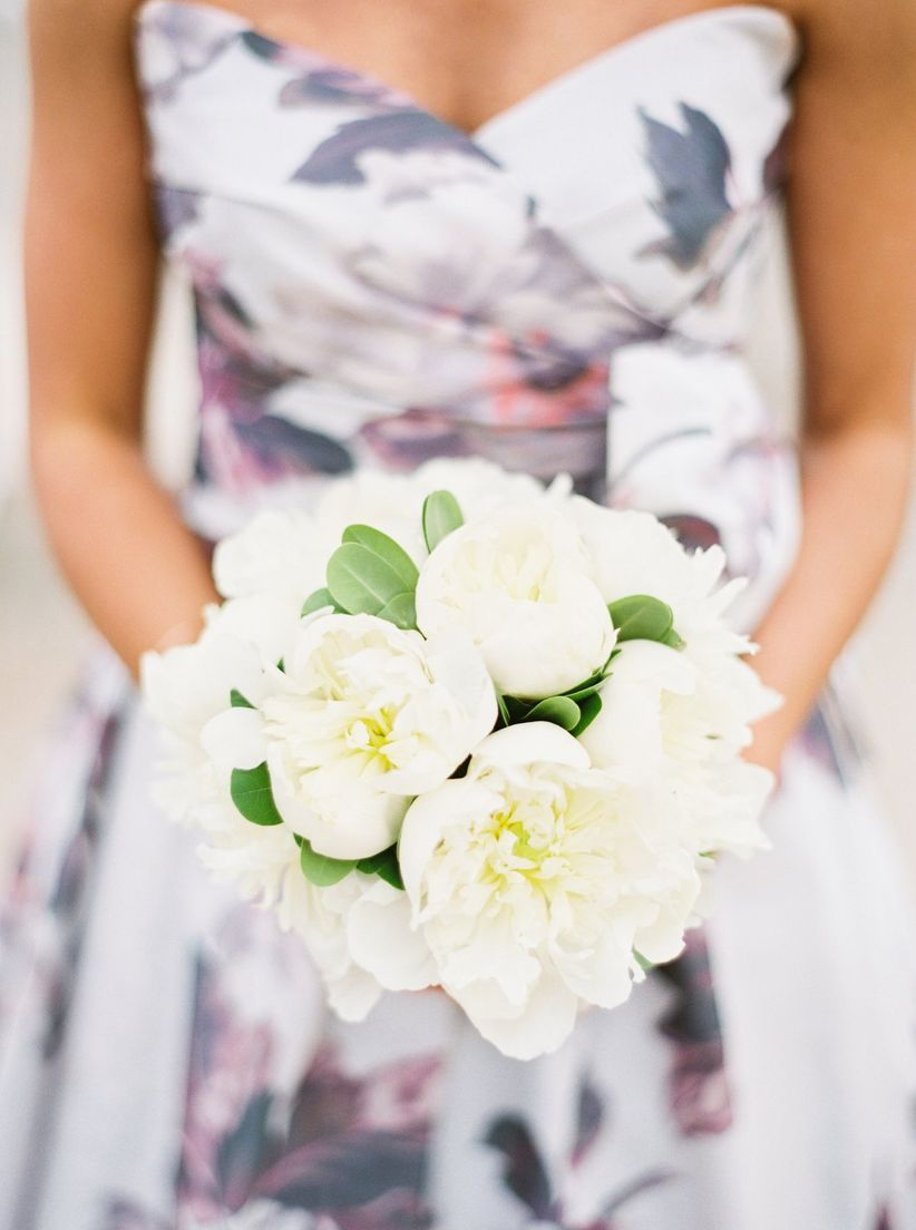 spring wedding bouquet with white peonies