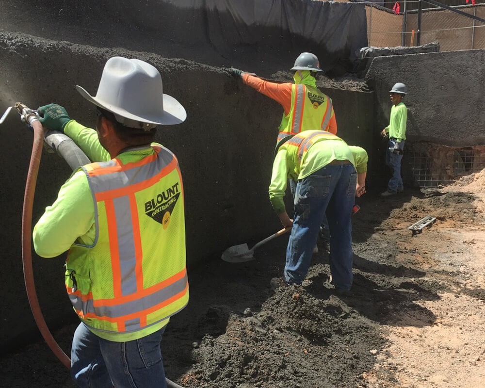 Blount Crew in Action Doing Earth Retention Work at Canopy by Hilton Project