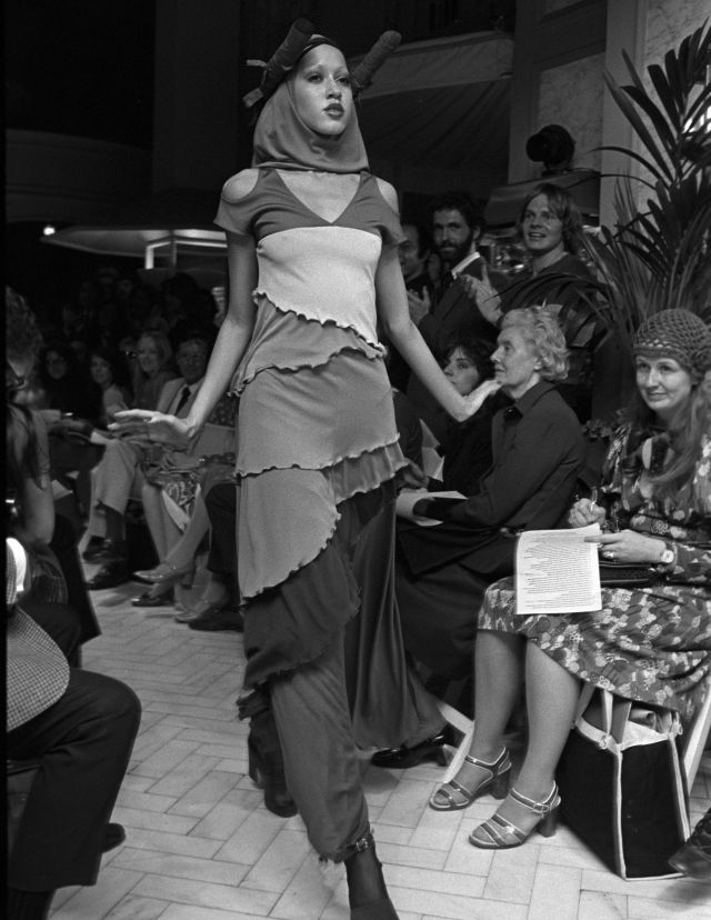 A model wearing a printed look from the Stephen Burrows Fall/Winter Ready to Wear 1971 show in New York