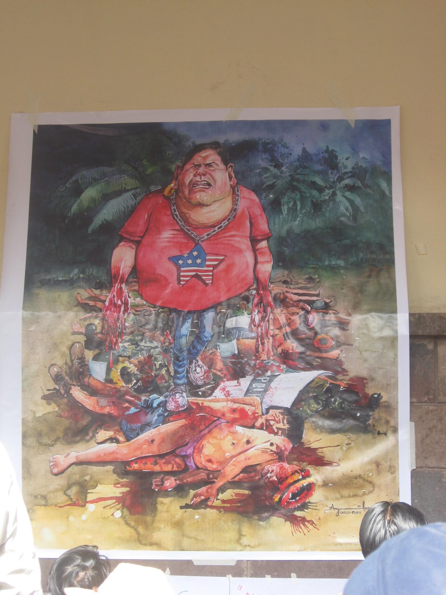 Alan Garcia cartoon, protest in Cusco