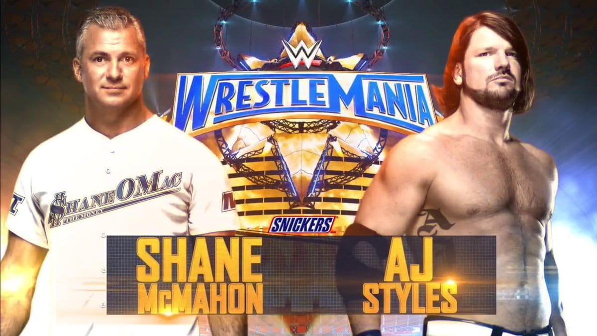 Image result for wrestlemania 33 aj styles vs. shane mcmahon