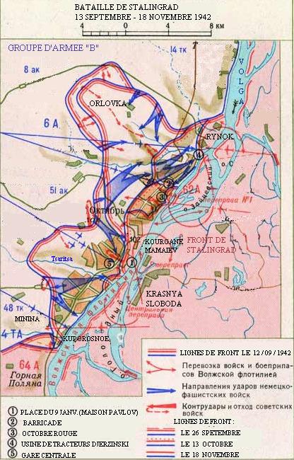 Карта боевых действий с 13 сентября по 18 ноября 1942 года.