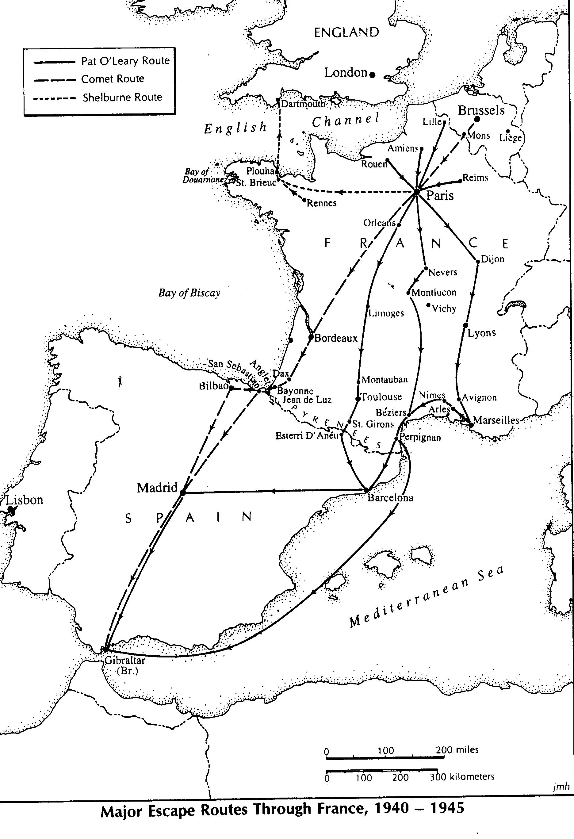 Maps Of Major Escape Routes Through France