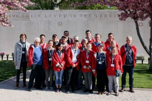 Foundation members at the Margraten (The Netherlands American Cemetery.) Sebastiaan Vonk far left.