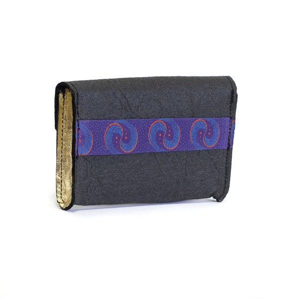 Side view of the WWoW vegan wallet in Golden Piñatex made in France