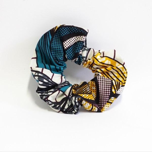 Upcycled scrunchy Yellow Turquoise Wax made in Paris
