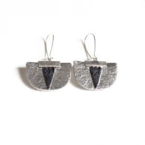 Daisy Piñatex Earrings Silver Black