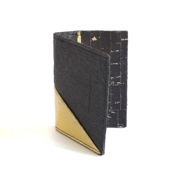 Vegan Jesselyn Piñatex® Card Holder Black and Gold with Cork