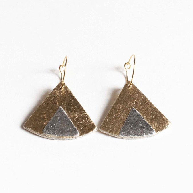 Ethnic Piñatex® Earrings Gold and Silver