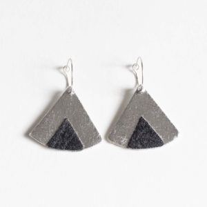 Ethnic Piñatex Earrings Silver Black