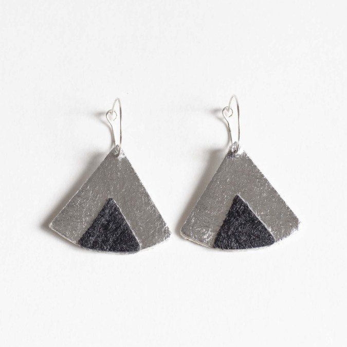 Ethnic Piñatex® Earrings Silver and Black