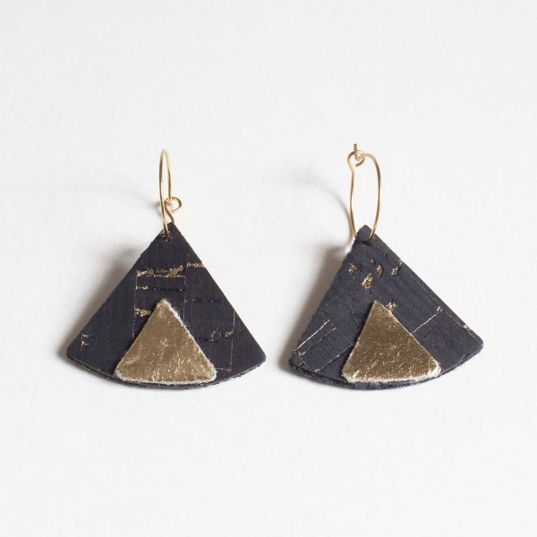 Ethnic Piñatex Earrings Cork and Gold