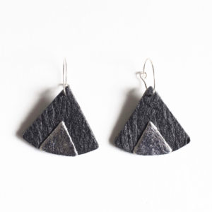 Ethnic Piñatex Earrings Black Silver