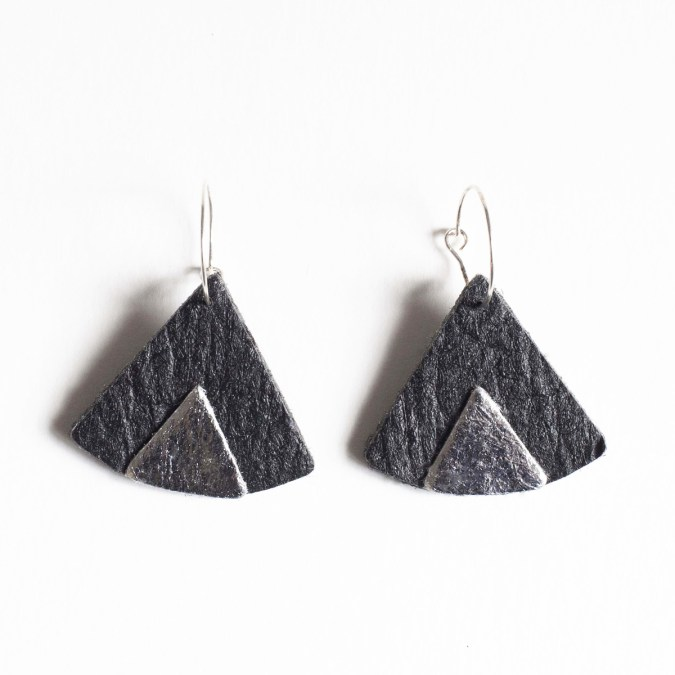 Ethnic Piñatex® Earrings Black and Silver