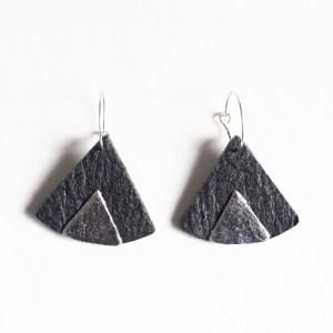 Boucles d'oreilles Piñatex Ethnic Noir & Argenté