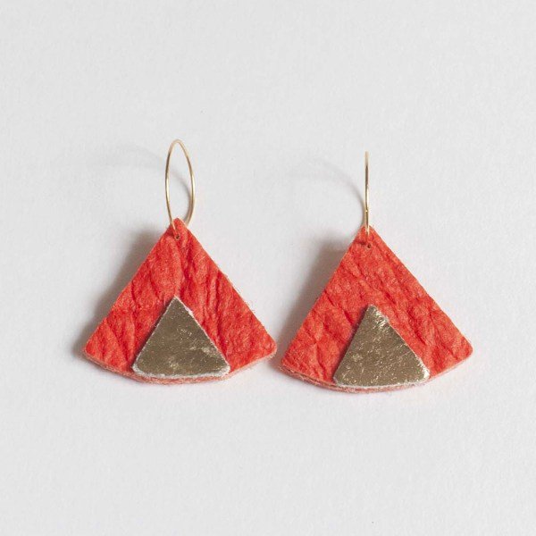 Ethnic Piñatex® Earrings Paprika and Gold