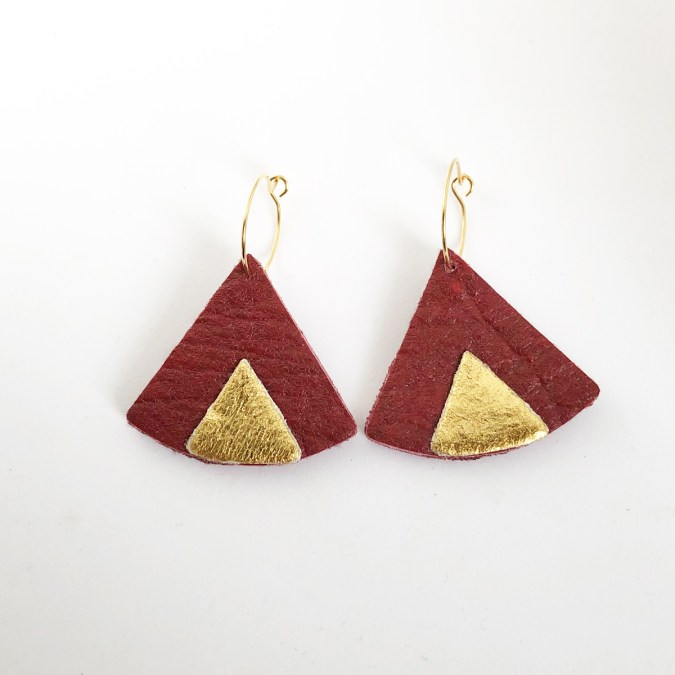Ethnic Piñatex Earrings Mulberry and Gold